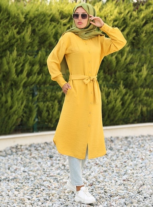 Mustard - Point Collar - Dress - La`Zeyn