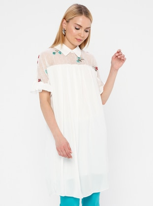 White - Ecru - Point Collar - Fully Lined - Dress