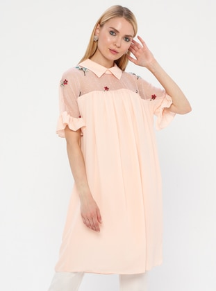 Salmon - Point Collar - Fully Lined - Dress
