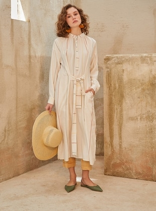 Ecru - Stripe - Crew neck - Linen - Tunic