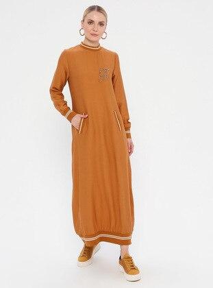 Mustard - Crew neck - Unlined - Nylon - Viscose - Dress