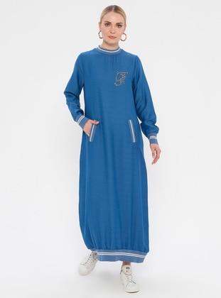 Indigo - Blue - Crew neck - Unlined - Nylon - Viscose - Dress