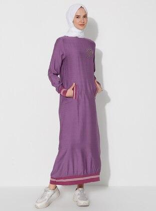 Lilac - Crew neck - Unlined - Nylon - Viscose - Dress