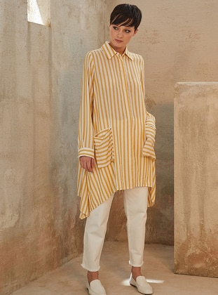Yellow - Stripe - Point Collar -  - Blouses
