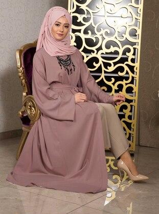 Onion Skin - Unlined - V neck Collar -  - Abaya