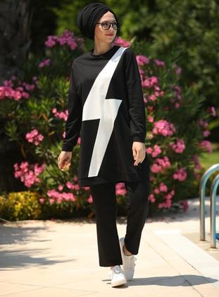 Black - Geometric - Unlined - Cotton - Suit