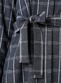 Anthracite - Plaid - Point Collar - Unlined - Cotton - Dress