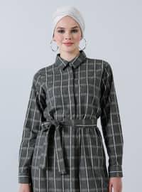 Haki - Ekose - Fransız yakalı - Astarsız kumaş - Pamuk - Elbise