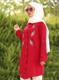 Red - Point Collar - Viscose - Tunic - La`Zeyn
