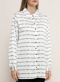 White - Ecru - Multi - Point Collar - Plus Size Blouse