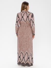 Dusty Rose - Multi - Unlined - Point Collar -  - Plus Size Dress
