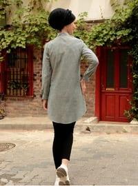 Khaki - Stripe - Point Collar - Blouses