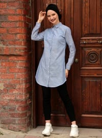 Blue - Stripe - Point Collar - Blouses