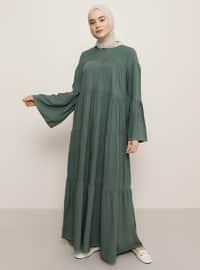 Yeşil - Yuvarlak yakalı - Astarsız kumaş - Viskon - Elbise
