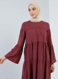 Vişne Kırmızısı - Yuvarlak yakalı - Astarsız kumaş - Viskon - Elbise