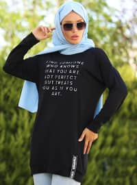 Black - Crew neck - Tunic - La`Zeyn