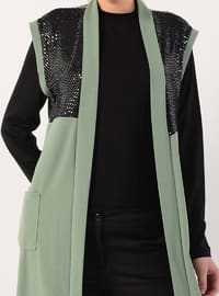 Green - Unlined - Shawl Collar - Vest