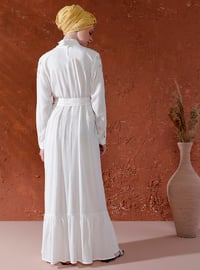 White - Crew neck - Unlined -  - Dress