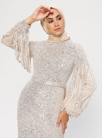 Beige - Crew neck - Fully Lined - Dress