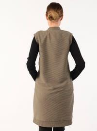 Khaki - Unlined - Button Collar - Vest