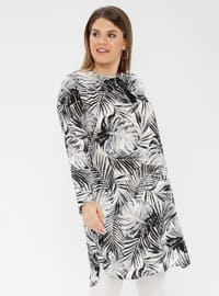 Black - Multi - Crew neck -  - Plus Size Tunic