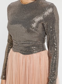 Gold - Salmon - Fully Lined - Crew neck - Muslim Evening Dress