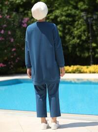 Indigo - Geometric - Unlined - Cotton - Suit