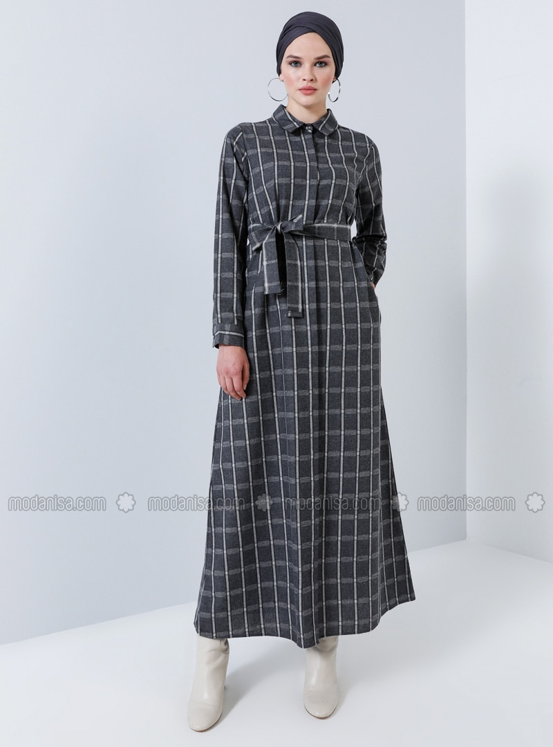 Anthracite   Plaid   Point Collar   Unlined   Cotton   Dress by Modanisa