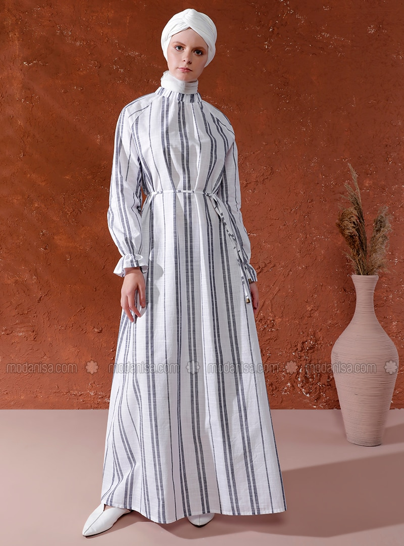 White - Gray - Stripe - Crew neck - Unlined -  - Dress