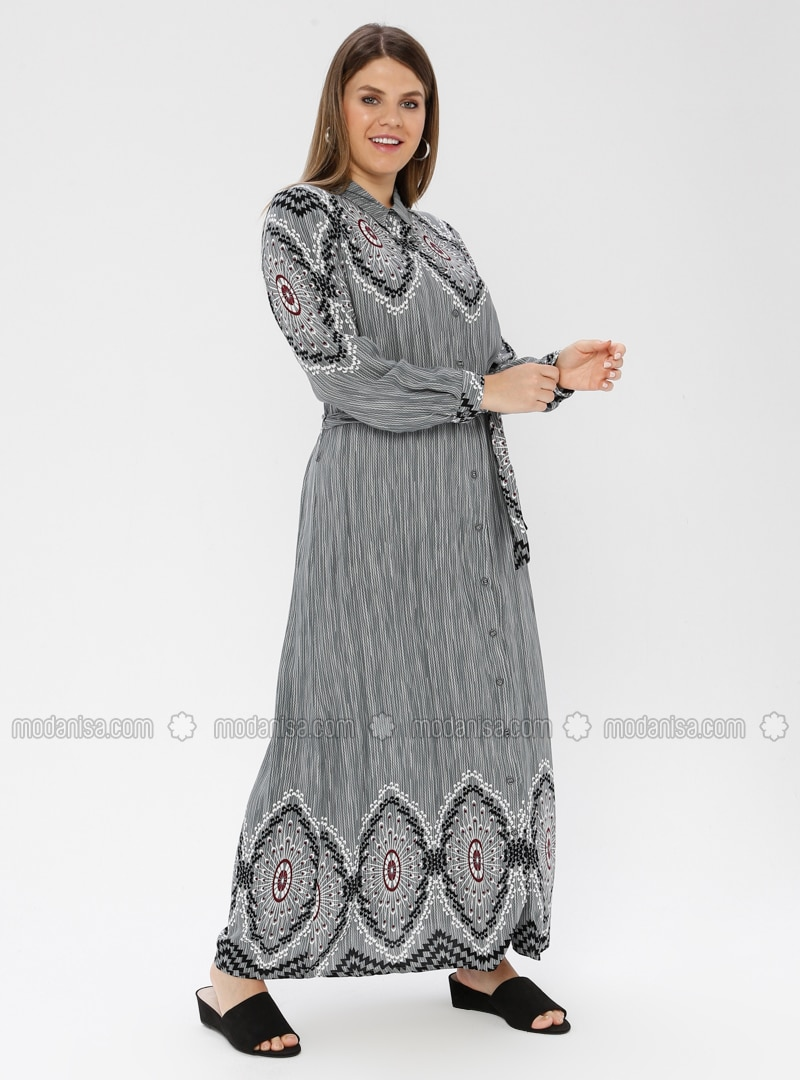 Gray - Multi - Unlined - Point Collar -  - Plus Size Dress