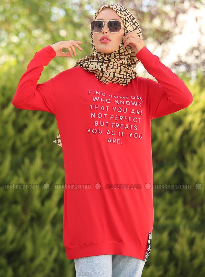 Red - Crew neck - Tunic - La`Zeyn