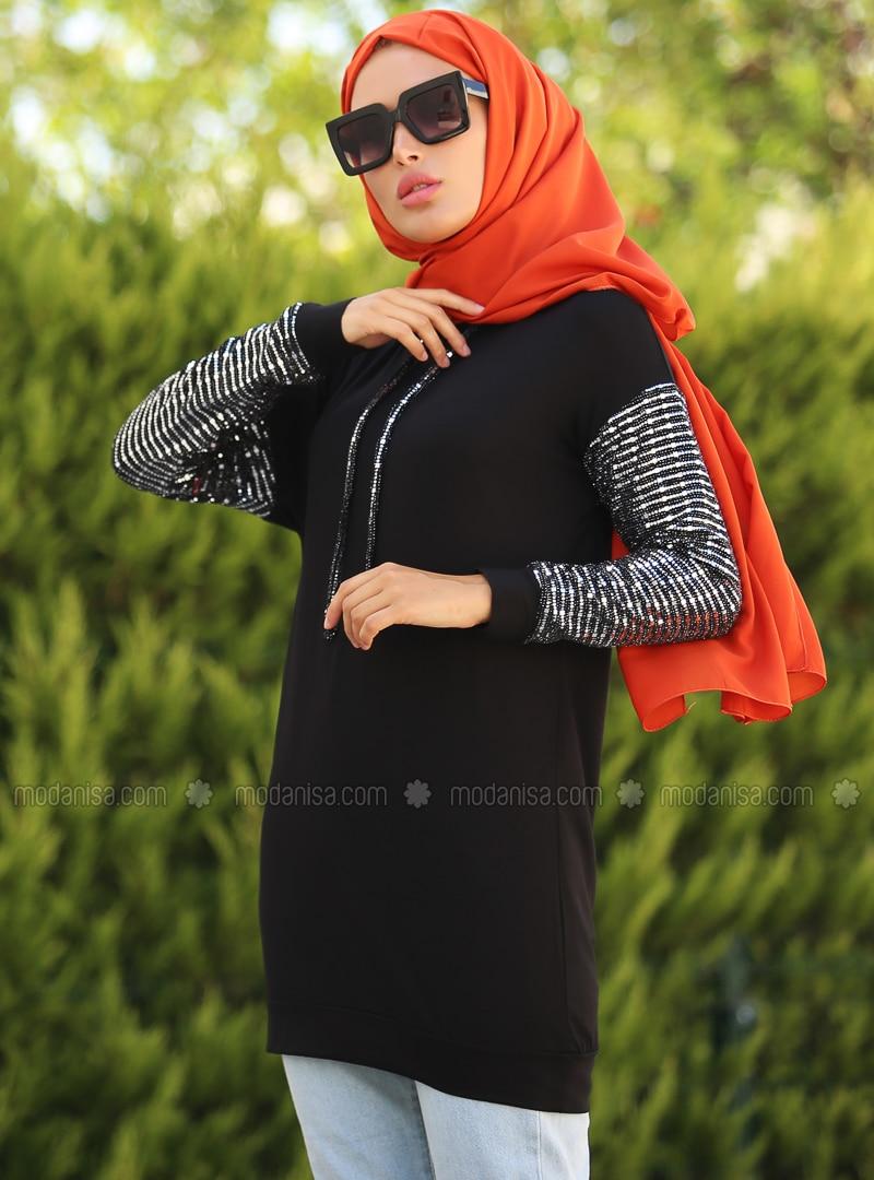 Black - Stripe - Tunic - La`Zeyn