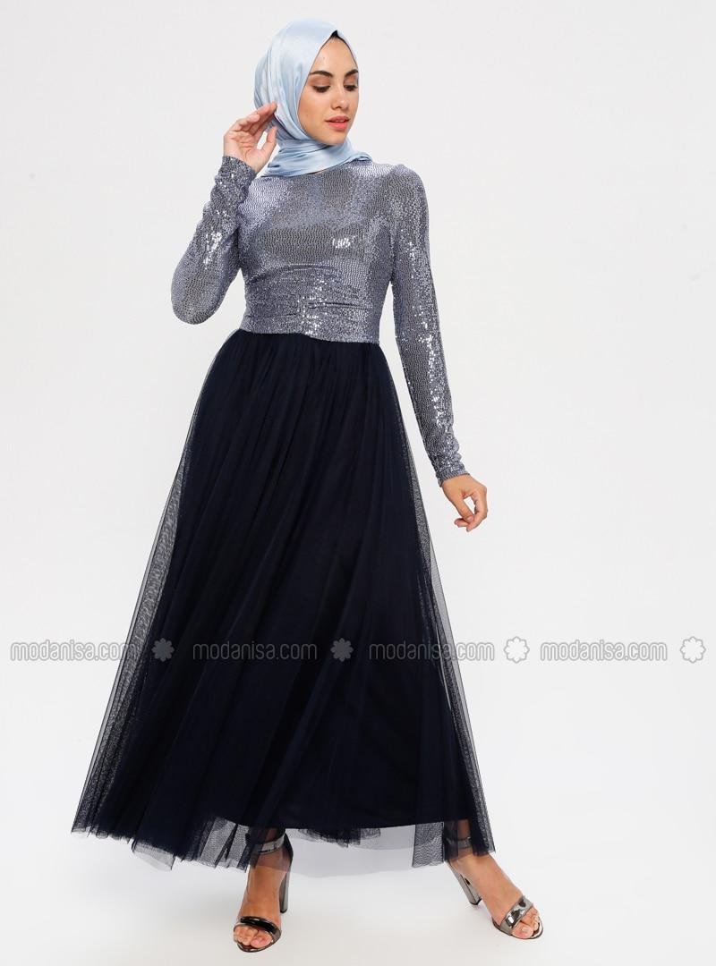 Indigo - Crew neck - Fully Lined - Dress