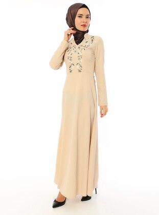 Beige - V neck Collar - Unlined - Dress