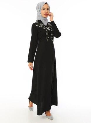 Black - V neck Collar - Unlined - Dress