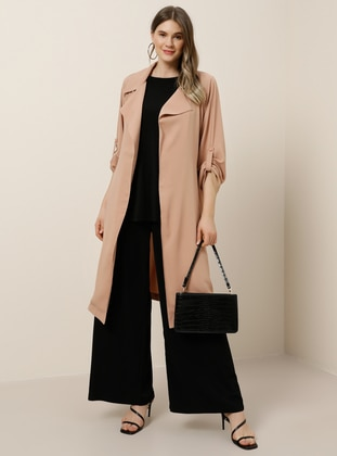 Camel - Unlined - Shawl Collar - Plus Size Coat