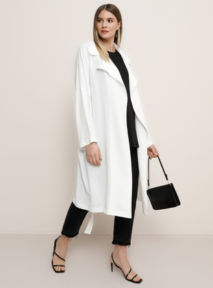 White - Ecru - Unlined - Shawl Collar - Plus Size Coat