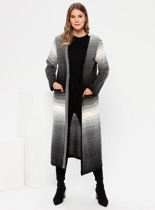 Gray - Acrylic - Plus Size Cardigan - Alia