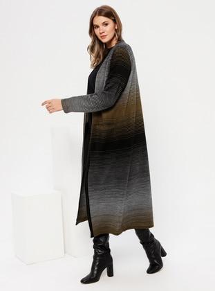 Khaki - Acrylic - Plus Size Cardigan
