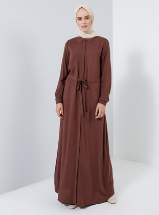 Brown - Point Collar - Unlined - Viscose - Dress