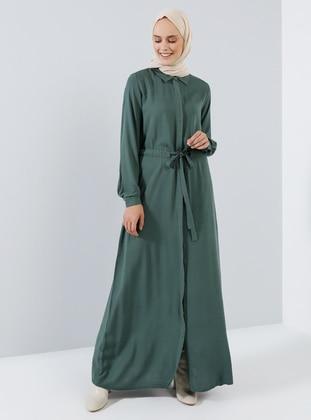 Green - Emerald - Point Collar - Unlined - Viscose - Dress