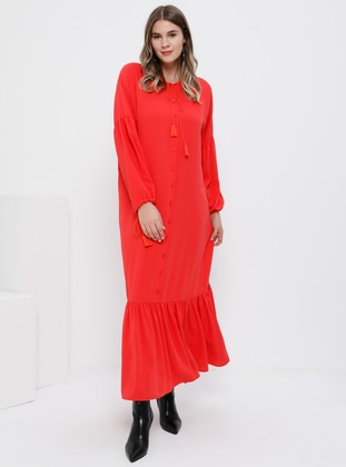 Coral - Unlined - Crew neck - Plus Size Dress