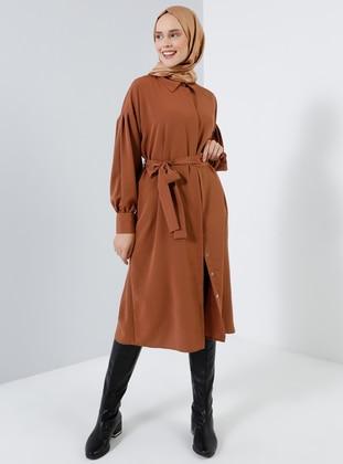 Brown - Tan - Point Collar - Tunic