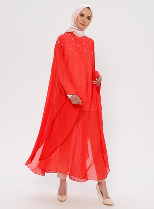 Coral - Coral - Unlined - Crew neck - Abaya