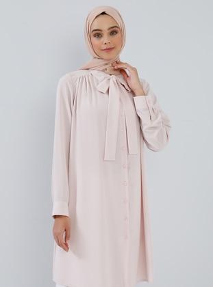 White - Pink - Powder - Point Collar - Tunic