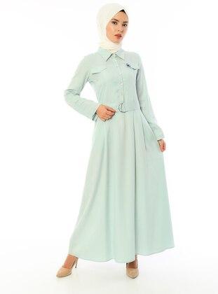 Sea-green - Point Collar - Unlined - Linen -  - Viscose - Dress