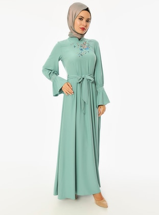 Sea-green - Crew neck - Unlined - Dress