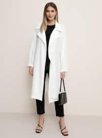 White - Ecru - Unlined - Shawl Collar - Plus Size Coat