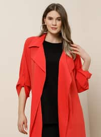 Coral - Unlined - Shawl Collar - Plus Size Coat