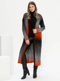 Black - Acrylic - Plus Size Cardigan
